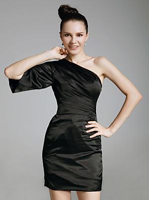 TS Couture® Cocktail Party / Holiday Dress - Little Black Dress Plus Size / Petite Sheath / Column One Shoulder Short / Mini Charmeuse