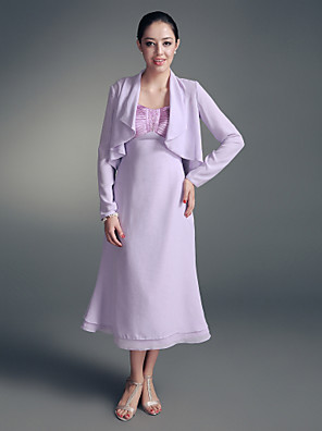 A-line Plus Size / Petite Mother of the Bride Dress - Wrap Included Tea-length Long Sleeve Chiffon / Stretch Satin withBeading / Side