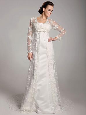 gaine de mariée lanting / colonne petite / tailles plus robe de mariée-balayage / train brosse dentelle carrée / satin