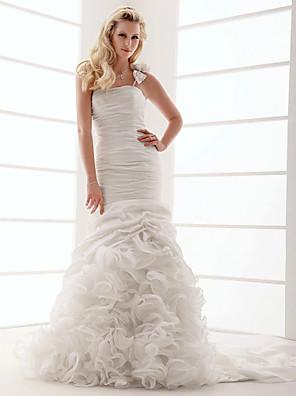 Lanting Bride® Justo & Evasê Pequeno / Tamanhos Grandes Vestido de Noiva - Clássico e atemporal Cauda Corte Mula Manca Tafetá com