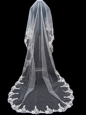 Velos de Boda 1 capa Catedral Con aplicación de encaje 196,85 en (500cm) Tul Blanco Blanco Corte A, evasé, princesa, recto, sirena