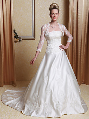 לנטינג כלת אונליין / נסיכה קטנה / בתוספת גדלי סאטן מסולסל קצה רכבת שמלה-משפט חתונה