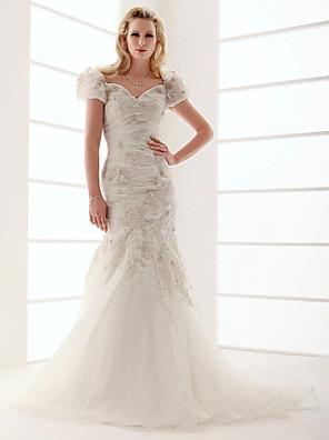 Lanting Bride Trumpet/Mermaid Plus Sizes / Petite Wedding Dress-Sweep/Brush Train V-neck Organza