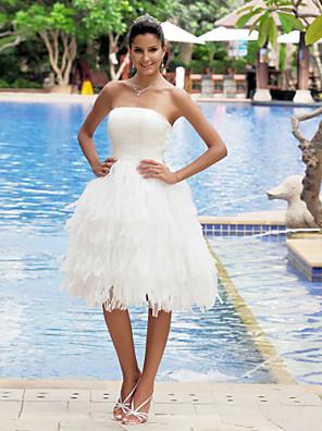 Lanting bruden a-linje petite / pluss størrelser brudekjole-kne-lengde stroppeløs organza / sateng