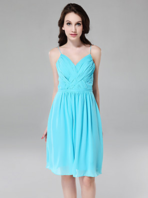 Knee-length Chiffon Bridesmaid Dress Sheath / Column V-neck / Spaghetti Straps Plus Size / Petite with Draping / Criss Cross / Pleats