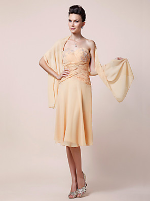 Sheath / Column Plus Size / Petite Mother of the Bride Dress - Wrap Included Knee-length Sleeveless Chiffon withAppliques / Beading /