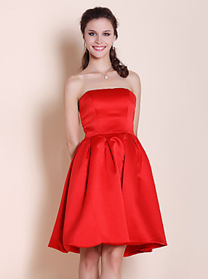 Lanting Bride® באורך  הברך סאטן שמלה לשושבינה - גזרת A / נסיכה סטרפלס פלאס סייז (מידה גדולה) / פטיט עם קפלים