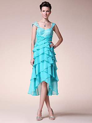 A-line Plus Size / Petite Mother of the Bride Dress Tea-length / Asymmetrical Sleeveless Chiffon / Lace withLace / Ruffles / Pleats /