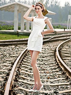 lanting 신부 시스 / 아담 열 / 플러스 웨딩 드레스 짧은 / 미니 사각 새틴 크기