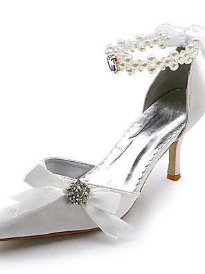 szatén felső közép sarok szivattyúk zárt lábujjak strassz esküvői menyasszonyi cipő. több szín