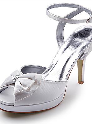 szatén felső magas sarkú pántos szandál, gumis / bowknot esküvői menyasszonyi cipő