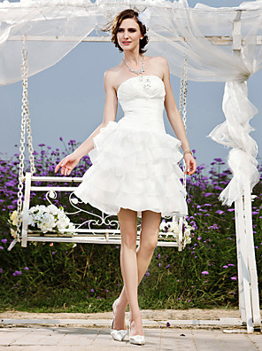 Lanting Bride A-line / Princess Petite / Plus Sizes Wedding Dress-Short/Mini Strapless Organza / Taffeta
