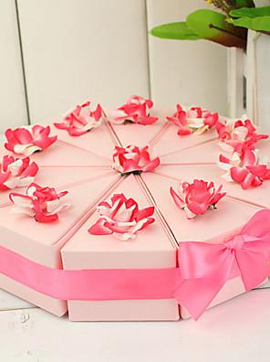 cake slice box met roze en witte bloemen (set van 10)
