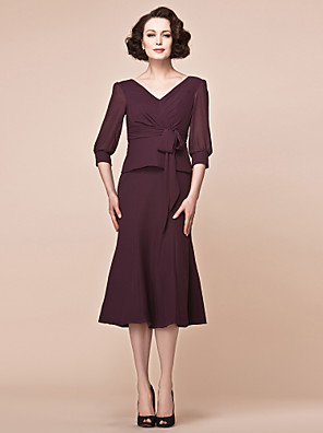 Sheath / Column Plus Size / Petite Mother of the Bride Dress Tea-length 3/4 Length Sleeve Chiffon with Bow(s) / Criss Cross