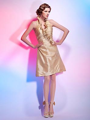 カクテルパーティー / 祝日 ドレス - スポーツ Aライン / プリンセス ホルター / Vネック 膝丈 タフタ とともに ラッフル / フリル / サイドドレープ