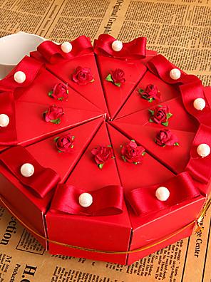 piros virág sütemény mellett doboz gyöngy (10 db)