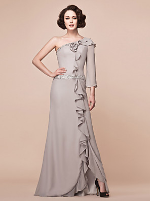 Sheath / Column Plus Size / Petite Mother of the Bride Dress Floor-length 3/4 Length Sleeve Chiffon with Beading / Ruffles / Split Front