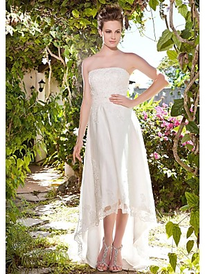 Lanting Bride® מעטפת \ עמוד קטן / מידה גדולה שמלת כלה - קלסי ונצחי / שיק ומודרני / לקבלת פנים שמלות לבנות קטנות א-סימטרי סטרפלס טול עם