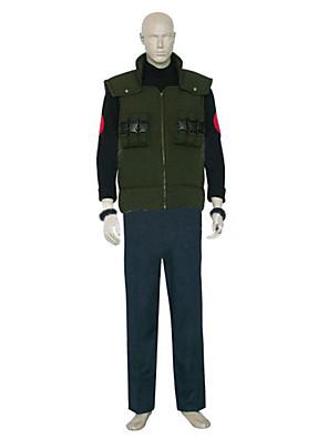 קיבל השראה מ Naruto Asuma Sarutobi אנימה תחפושות קוספליי חליפות קוספליי קולור בלוק שחור / כחול / ירוק שרוולים ארוכיםוסט / חולצת טי /