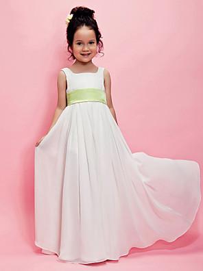Lanting Bride A-linje / Prinsesse Gulvlang Blomsterpigekjole - Chiffon U. ærmer Firkantet med Drapering / Bælte / bånd