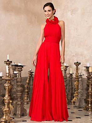 ts couture® baile / noite formal de uma linha de romper plus size / petite alta pescoço até o chão chiffon com drapeados