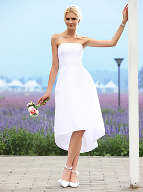 Lanting Bride A-line / Princess Petite / Plus Sizes Wedding Dress-Asymmetrical Strapless Taffeta