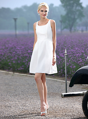 Lanting bruden-line / princess petite / pluss størrelser brudekjole-kort / mini scoop taffeta