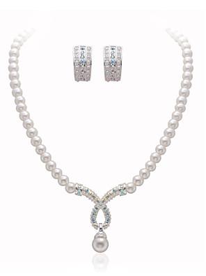 gyönyörű tiszta kristályok utánzás gyöngy esküvői menyasszonyi ékszer szett, beleértve a nyaklánc és fülbevaló