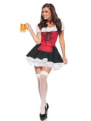 תחפושות קוספליי / תחפושת למסיבה אגדה / חליפות חדרניות / פסטיבל אוקטובר פסטיבל/חג תחפושות ליל כל הקדושים אדום / שחור טלאים שמלה / צווארון