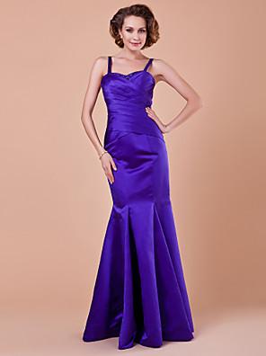 Trumpet / Mermaid Plus Size / Petite Mother of the Bride Dress Floor-length Sleeveless Satin with Draping / Criss Cross / Sequins