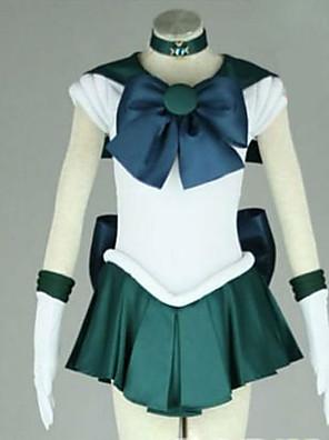 קיבל השראה מ מלח ירח מלח נפטון אנימה תחפושות קוספליי חליפות קוספליי טלאים לבן / ירוק קצר שמלה / קשר