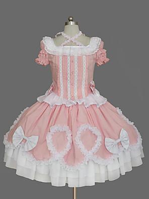 Uma-Peça/Vestidos Doce Inspiração Vintage Cosplay Vestidos Lolita Rosa Vintage Manga Curta Comprimento Médio Vestido Para Feminino Algodão