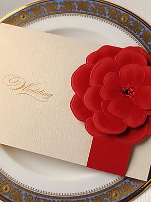 Oldalra nyíló Esküvői Meghívók Meghívók Klasszikus stílus / Flóra stílus Kártyapapír 18,4*12,8 cm