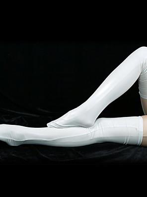 kiiltävä valkoinen metallinen pitkä sukat (2 kpl)