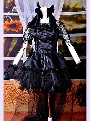 Uma-Peça/Vestidos Gótica Lolita Cosplay Vestidos Lolita Preto Rendas Manga Curta Comprimento MédioVestido / Peça para Cabeça / Luvas /
