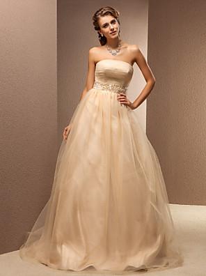 Lanting mariée une ligne petite / tailles plus robe de mariée-balayage / pinceau train bustier en tulle