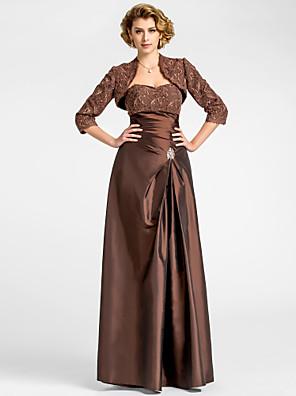 A-linje Plusstørrelse / Petite Kjole til brudens mor - Wrap er inkluderet Gulvlang 3/4-ærmer Blondelukning / Taft - Perler / Drapering /