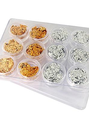 12PCS Golden en Silver Leaf Nail Art Decorations