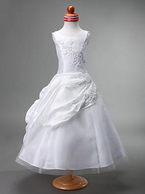 נשף באורך הקרסול שמלה לנערת הפרחים - טפטה / טול ללא שרוולים עם תכשיטים עם אפליקציות / חרוזים / תד נשפך / כיווצים למעלה