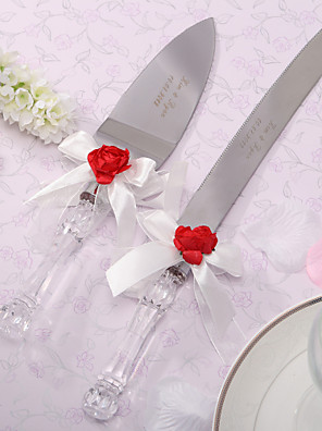 szolgáló készletek esküvői torta kés személyre vörös rózsa& fehér szatén torta szelető szett