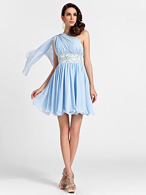 Lanting Bride® קצר \ מיני שיפון שמלה לשושבינה - גזרת A / נסיכה כתפיה אחת פלאס סייז (מידה גדולה) / פטיט עםחרוזים / תד נשפך / ריקמה / בד
