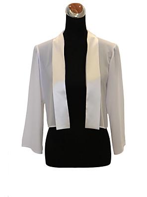 결혼식 랩 코트 / 재킷 긴 소매 쉬폰 화이트 파티/이브닝 / 캐쥬얼 티셔츠 오픈 프론트