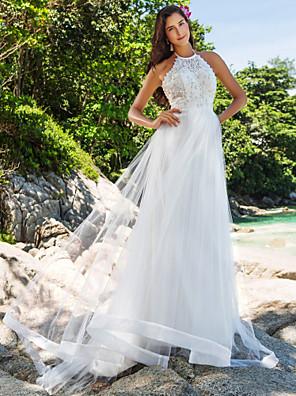 lanting novia una línea / princesa pequeña / más el tamaño de vestido de boda del tren-Capilla de cuello alto de encaje / organza