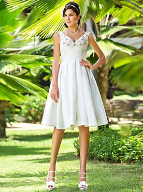 Lanting Bride A-line / Princess Petite / Plus Sizes Wedding Dress-Knee-length V-neck Taffeta