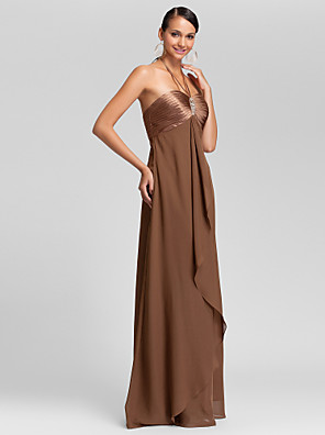 Floor-length Chiffon Bridesmaid Dress Sheath / Column Halter / Sweetheart Plus Size / Petite with Beading / Draping / Criss Cross
