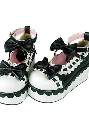 נעליים לוליטה מתוקה עבודת יד עקב טריז נעליים סרט פרפר 7 CM אדום / Black / צהוב ל נשים עור פוליאוריתן