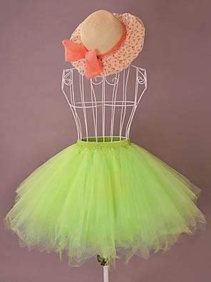 חצאית לוליטה מתוקה לוליטה Cosplay שמלות לוליטה סגול / לבן / Black / ורוד / ירוק / כתום / Taivaan sininen / בז' אחיד לוליטה לוליטה חצאית ל