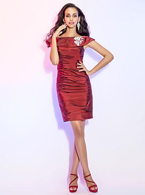 מסיבת קוקטייל שמלה - קצר מעטפת \ עמוד מתחת לכתפיים קצר \ מיני טפטה עם חרוזים / סלסולים