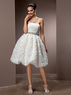 Lanting Bride A-line / Princess Petite / Plus Sizes Wedding Dress-Knee-length Strapless Lace