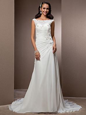 Lanting Bride Sheath/Column Petite / Plus Sizes Wedding Dress-Court Train Bateau Chiffon